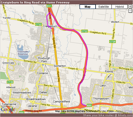 Craigieburn to Ring Road via Hume Freeway @ Bikely.com