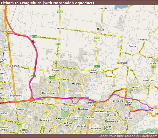 Bicycle Path - Eltham to Craigieburn (with Maroondah Aqueduct) at Bikely.com