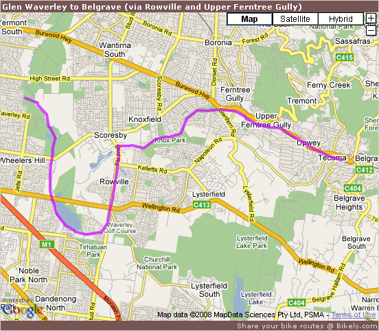 Glen Waverley to Belgrave (via Rowville and Upper Ferntree Gully) @ Bikely.com