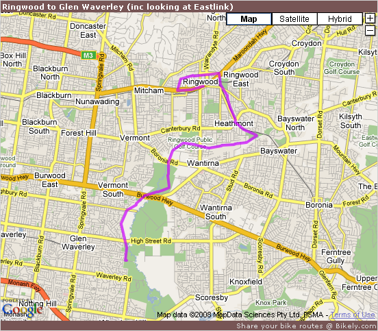 Ringwood to Glen Waverley (inc looking at Eastlink) @ Bikely.com